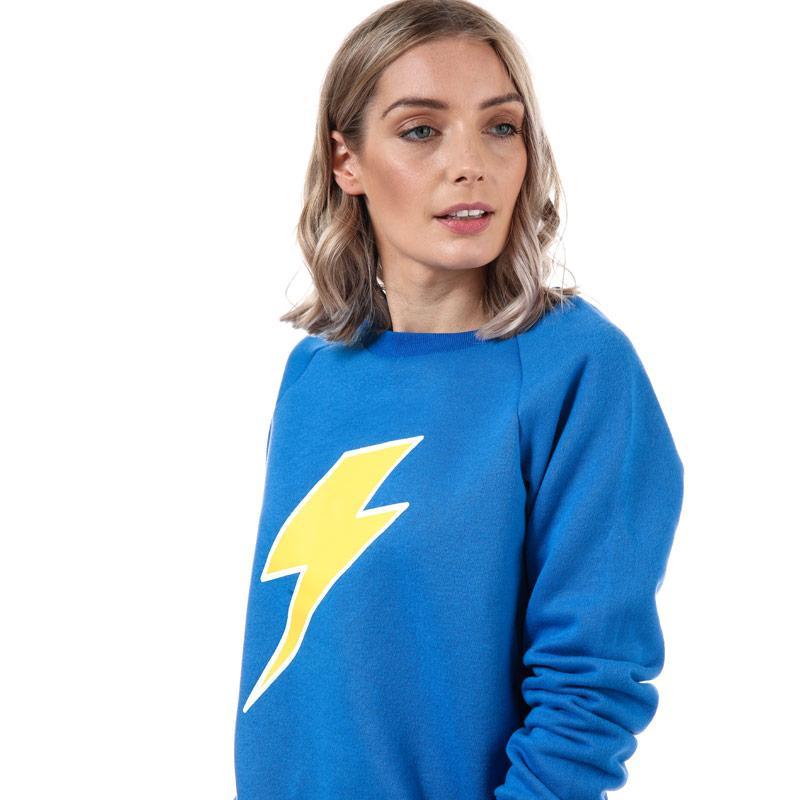 Mikina s kapucí Glamorous Womens Lightning Bolt Sweatshirt Blue