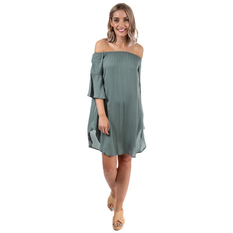 Šaty Glamorous Womens Off The Shoulder Dress Khaki