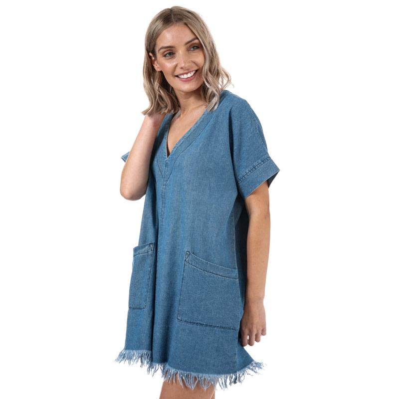Šaty Glamorous Womens Raw Edge Chambray Dress Blue