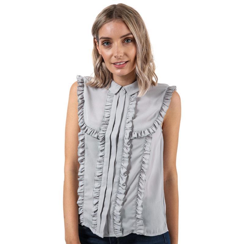 Glamorous Womens Sleeveless Frill Blouse Light Grey