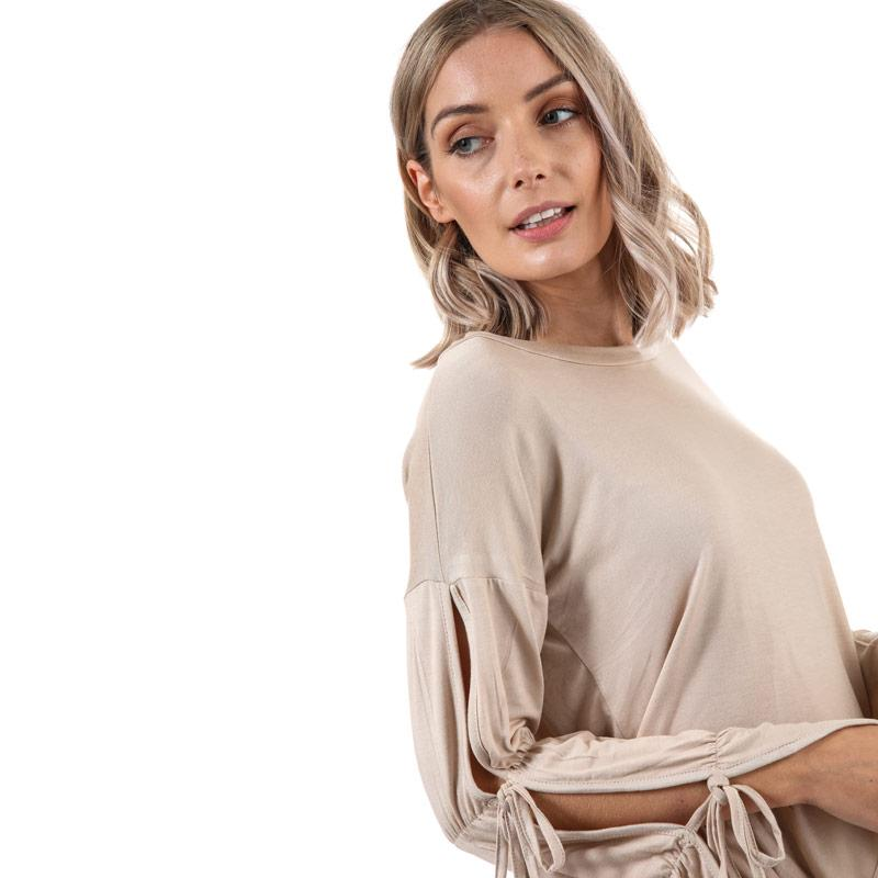 Glamorous Womens Tie Sleeve Top Stone