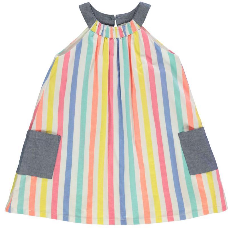 Šaty Crafted Essentials Woven Sun Dress Infant Girls Blue Stripe