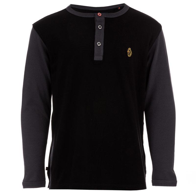 Tričko Luke 1977 Infant Boys Glover 2 Long Sleeve T-Shirt Black Grey