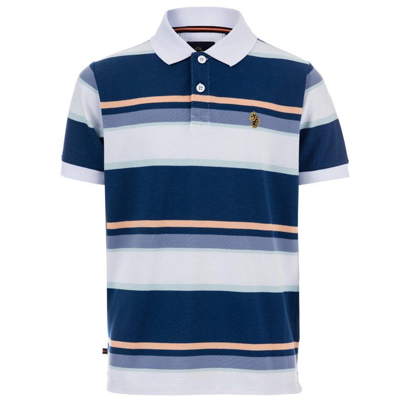 Tričko Luke 1977 Infant Boys Mid Oak Stripe Polo Shirt Blue