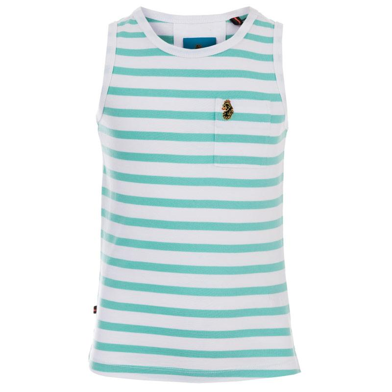 Tričko Luke 1977 Infant Boys Strous Striped Vest aqua