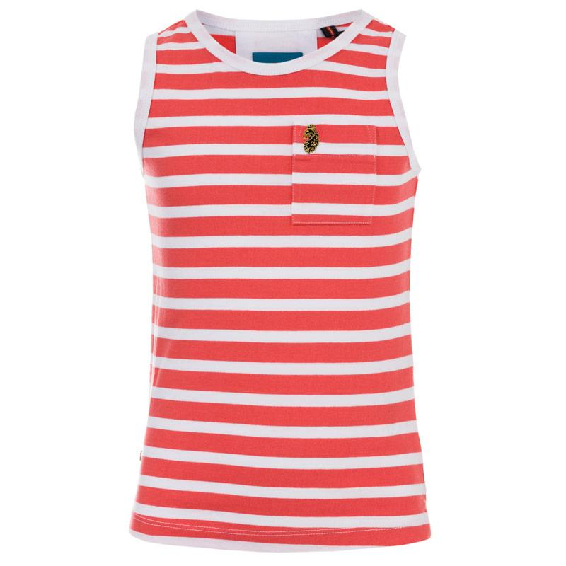 Tričko Luke 1977 Infant Boys Strous Striped Vest Coral