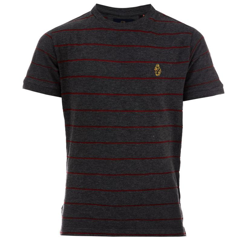 Tričko Luke 1977 Junior Boys Salina Striped Crew T-Shirt Charcoal