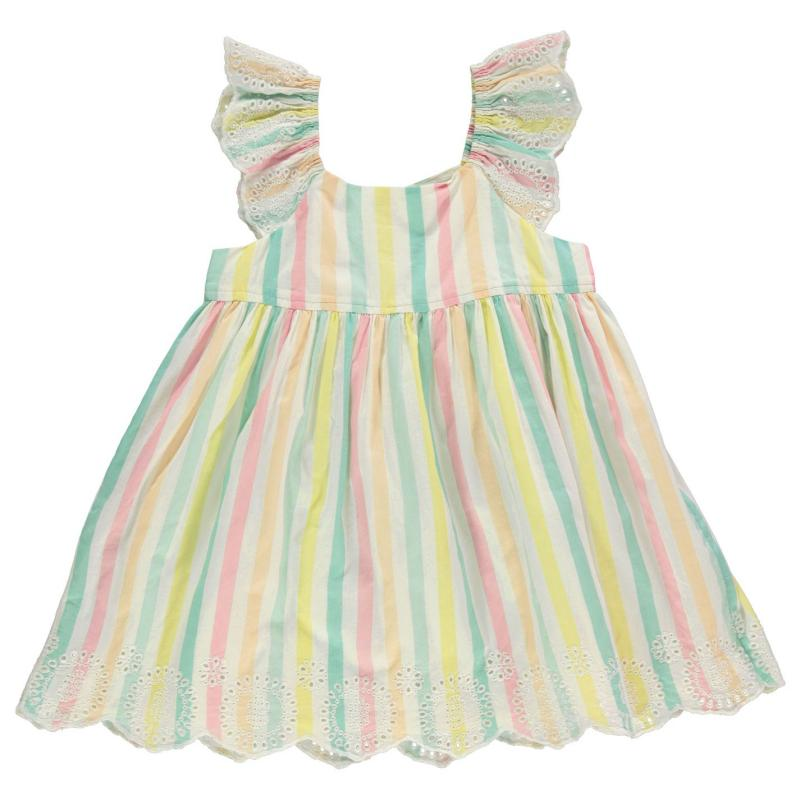 Šaty Crafted Woven Dress Infant Girls Ruffle Stripe
