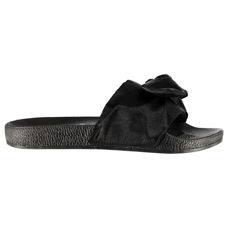 Boty Fabric Sliders Ladies Black Bow Velikost - UK4 (euro 37)