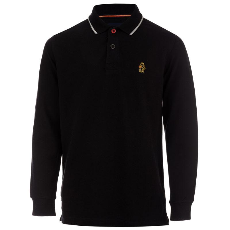 Tričko Luke 1977 Infant Boys Long Mead Long Sleeve Polo Shirt Black