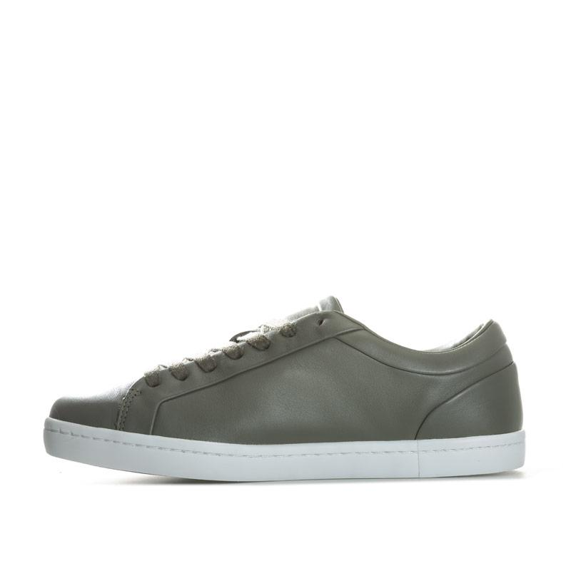 Lacoste Womens Straightset Leather Trainers Khaki