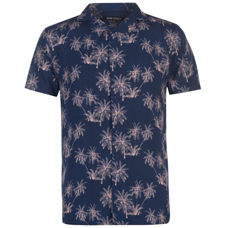 Dead Legacy Palm Short Sleeve Shirt Navy/Pink