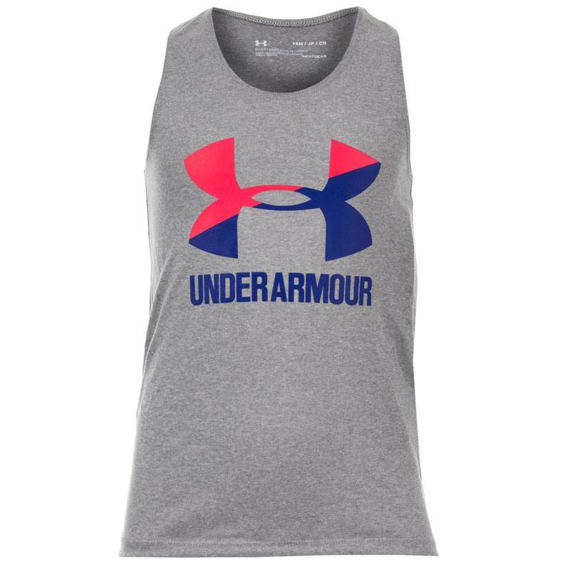 Under Armour Junior Girls Big Logo Slash Tank Top Pink