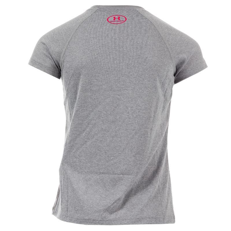 Under Armour Junior Girls Solid Big Logo T-Shirt Grey
