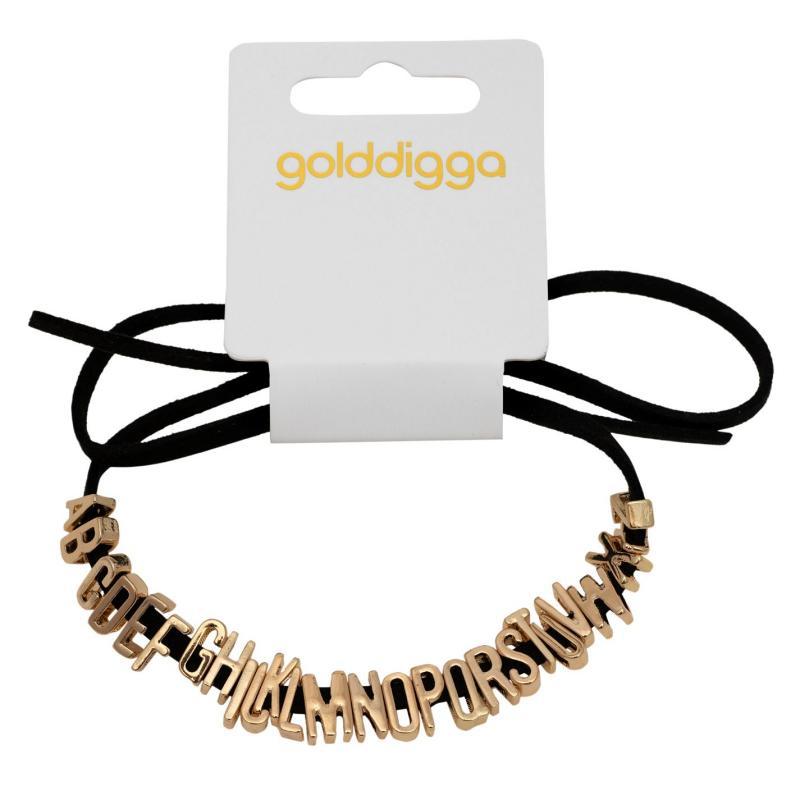 Golddigga Letter Bracelet Womens Gold