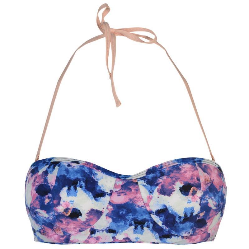 Plavky Gul Bandeau Bikini Top Ladies Pink AOP