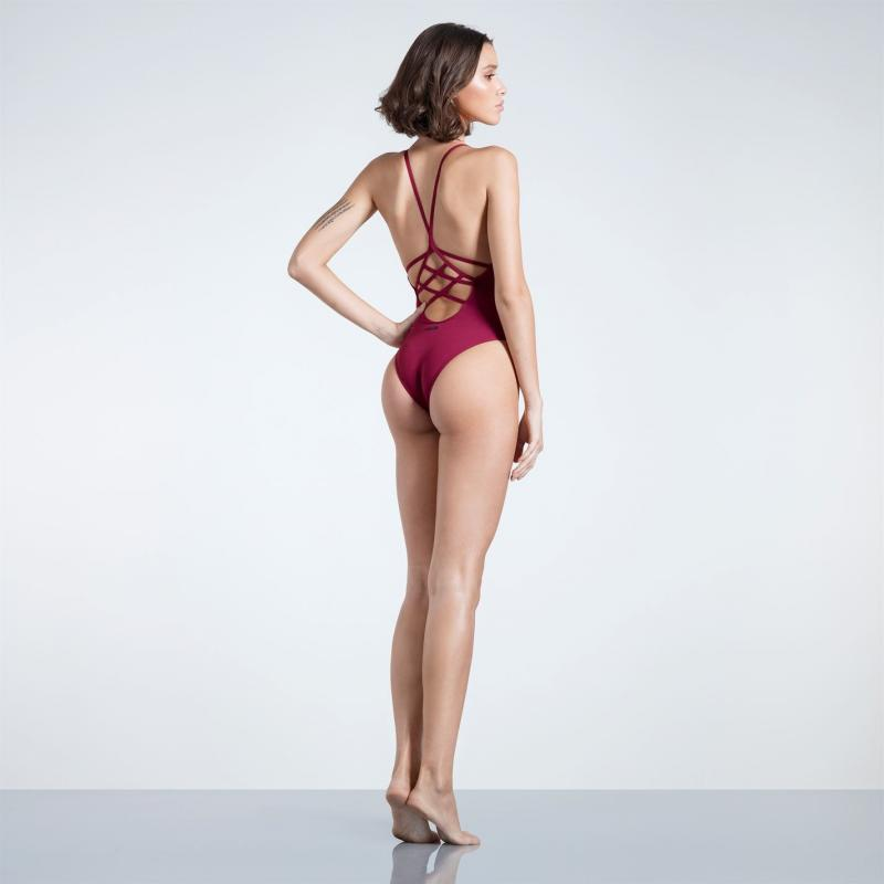 Plavky Firetrap Blackseal Cross Back Swim Suit Burgundy