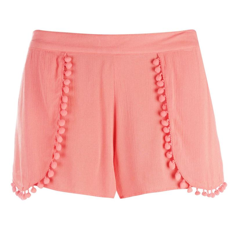 Golddigga Layered Shorts Ladies Coral