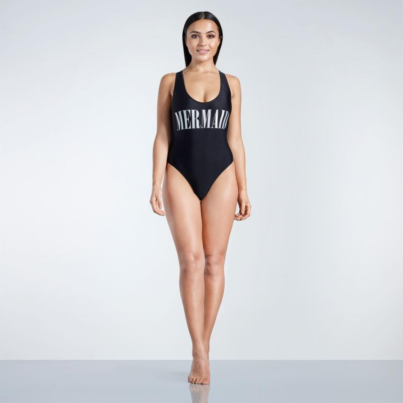 Plavky Golddigga Racerback Swimsuit Ladies Black Mermaid