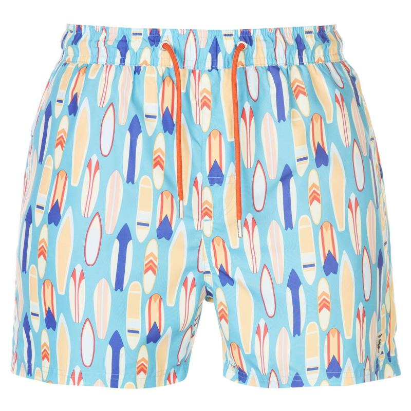 Plavky Pierre Cardin AOP Swim Shorts Mens Lt Blue Surf