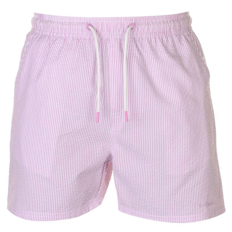 Plavky Pierre Cardin Seersucker Swim Shorts Mens Pink/White