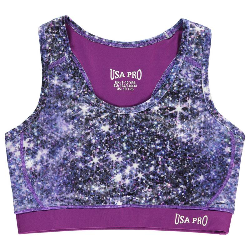 USA Pro Fitness Crop Top Junior Girls Sparkle Print