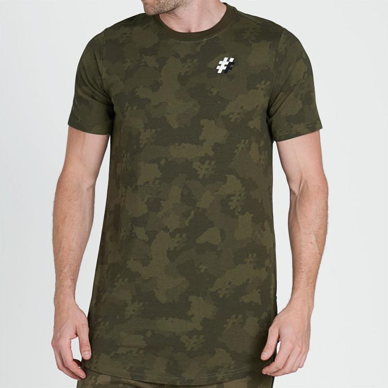 Tričko Five Street Long Line T Shirt Mens Camo