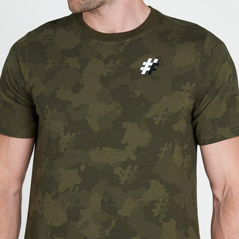 Tričko Five Street Long Line T Shirt Mens Camo