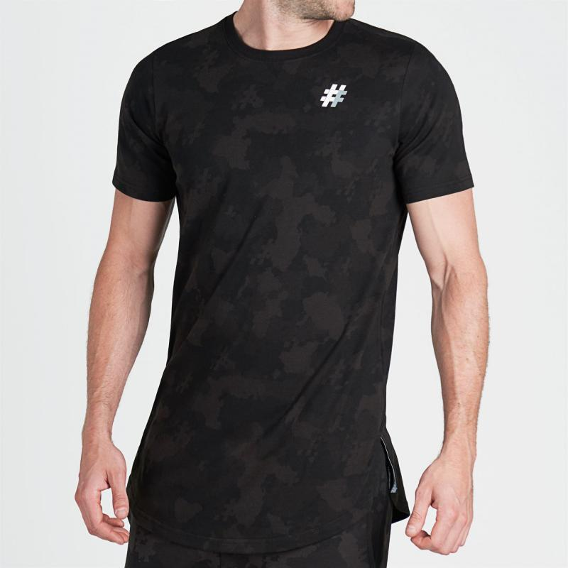 Tričko Five Street Long Line T Shirt Mens Black Camo