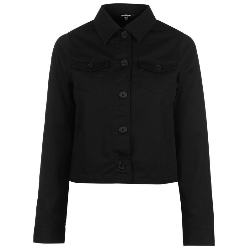 Golddigga Crop Jacket Ladies Black