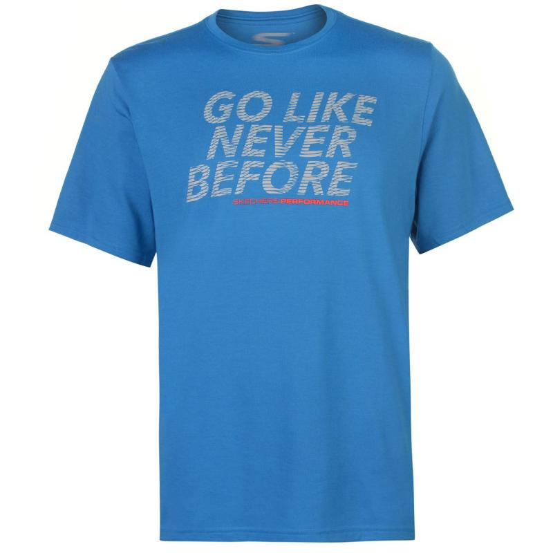 Tričko Skechers Slogan T Shirt Mens Blue