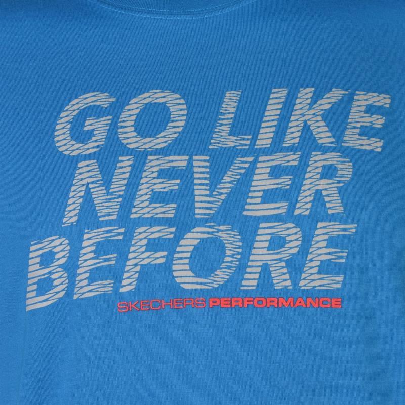 Tričko Skechers Slogan T Shirt Mens Blue