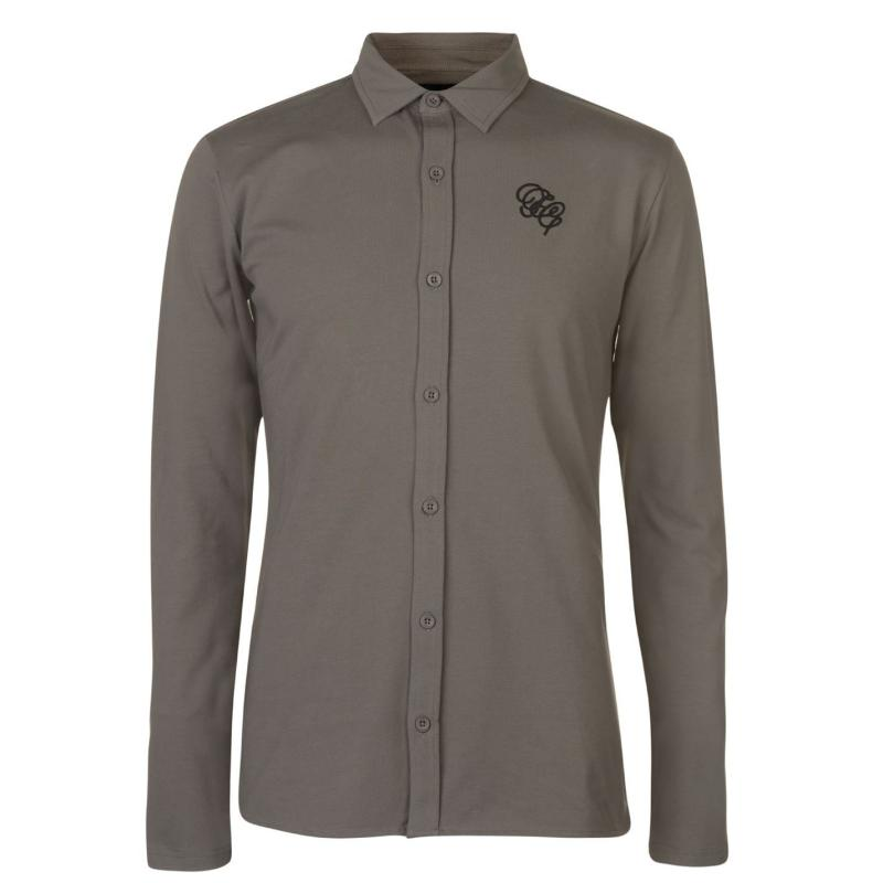 Fabric Embroidered Shirt Grey