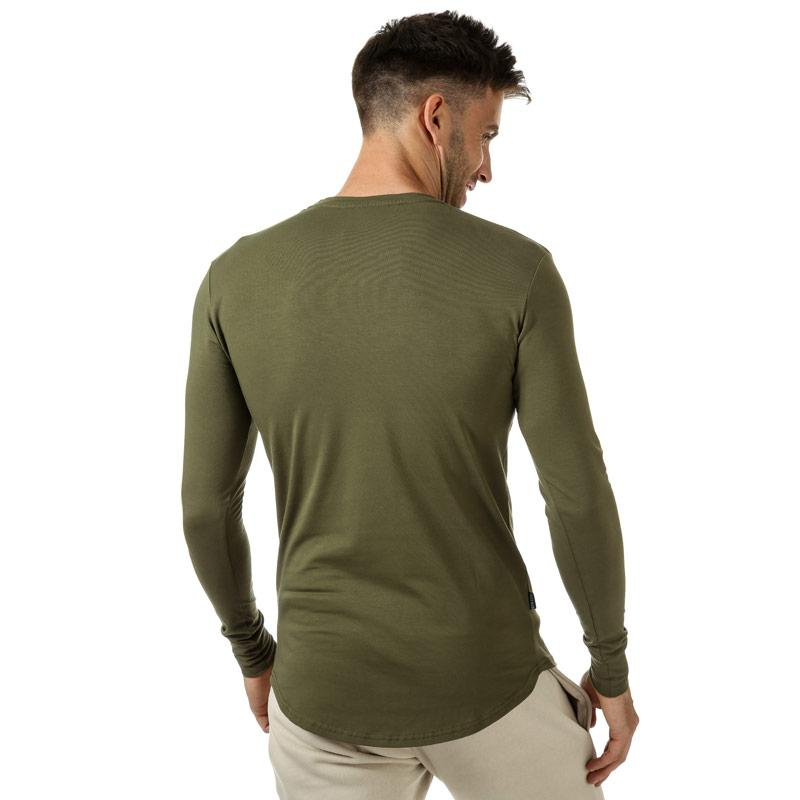 Tričko Gym King Mens GK Longsleeve Fitted T-Shirt olive