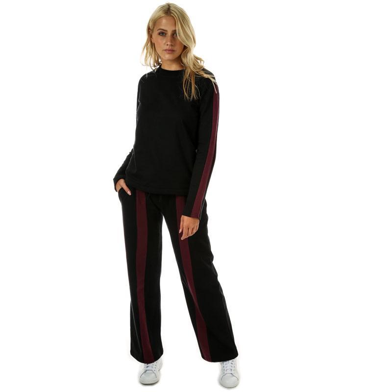 Mikina Daisy Street Womens Sleeve Stripe Crew Sweatshirt Black