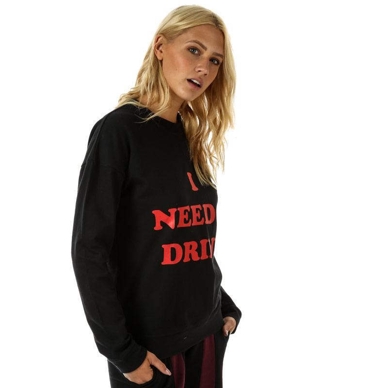 Mikina Daisy Street Womens Slogan Crew Sweatshirt Black