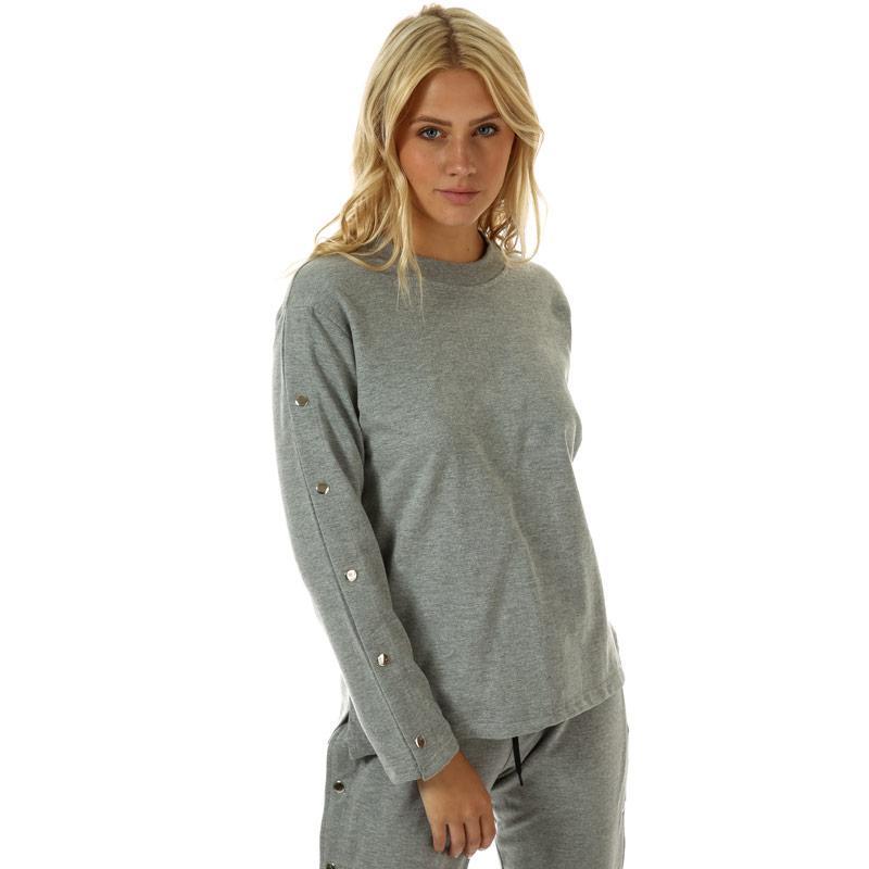 Mikina Daisy Street Womens Stud Sleeve Crew Sweatshirt Grey Marl