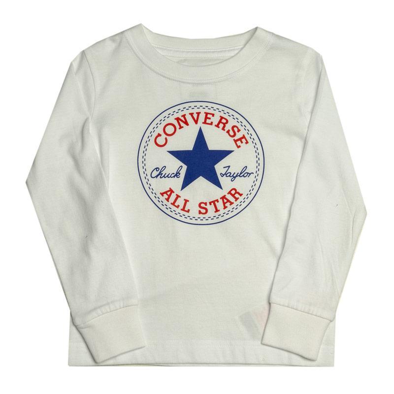 Tričko Converse Junior Boys Chuck Patch Long Sleeve T-Shirt White