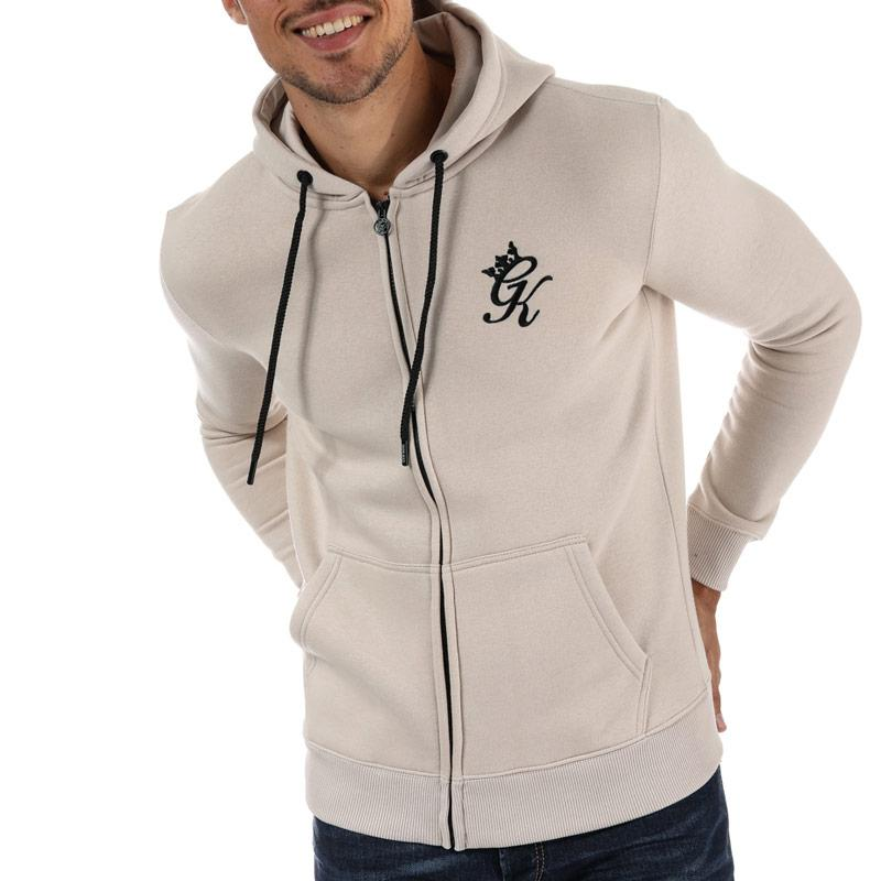 Mikina Gym King Mens Tracksuit Top Zipped Hoody Chalk