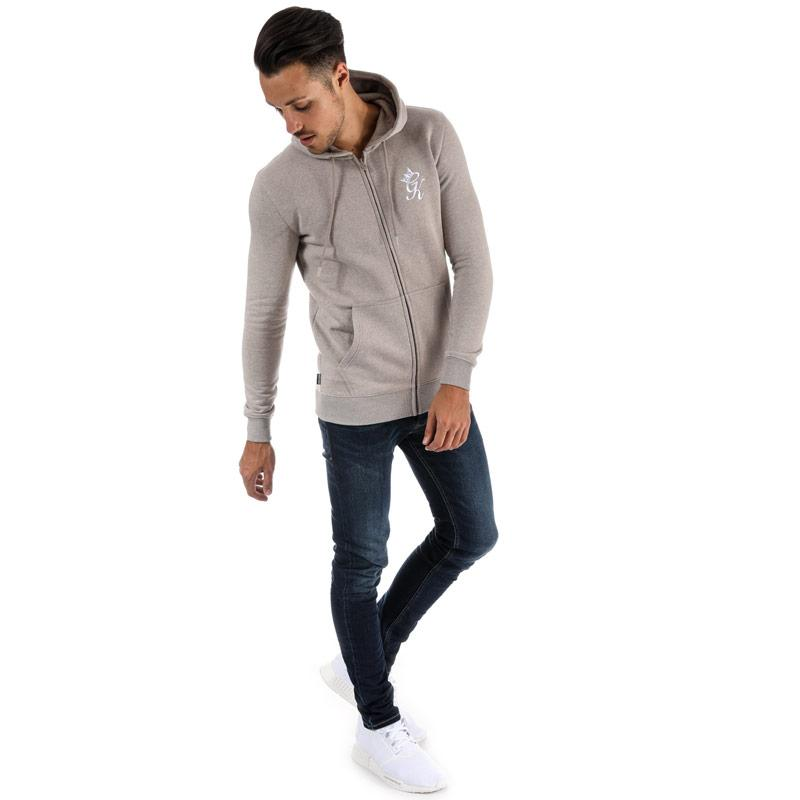 Mikina Gym King Mens Tracksuit Top Zipped Hoody Oatmeal
