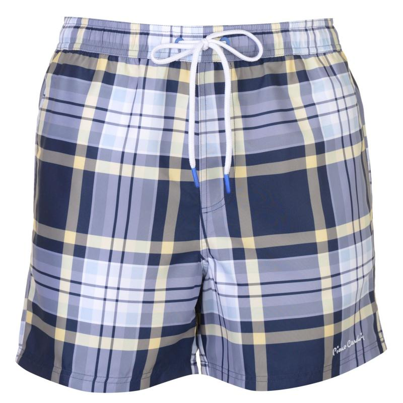 Plavky Pierre Cardin Checked Swim Shorts Mens Navy/Lemon Chck