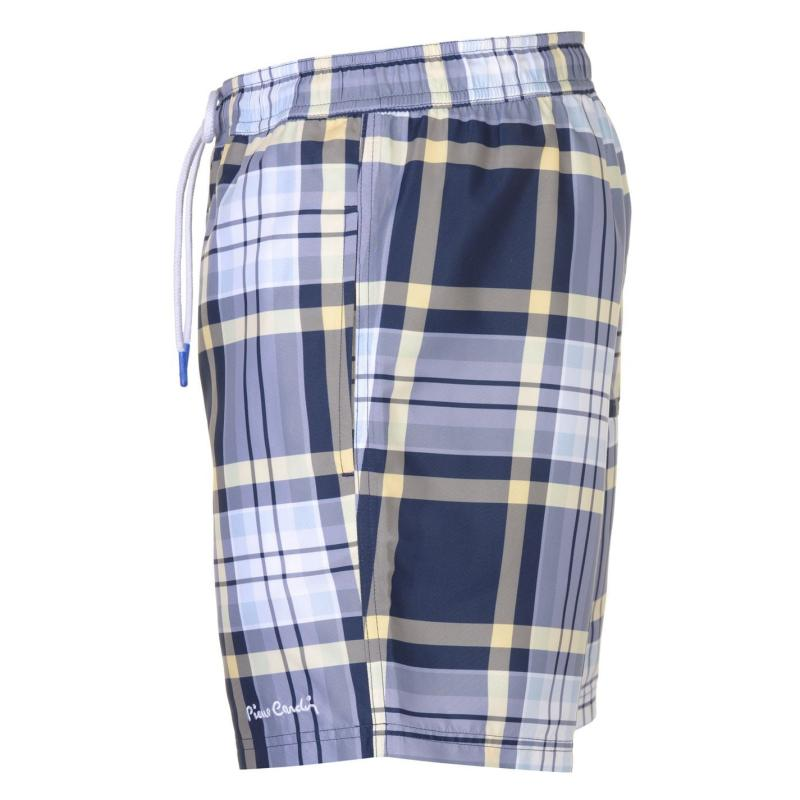 Plavky Pierre Cardin Checked Swim Shorts Mens Navy/Red Check