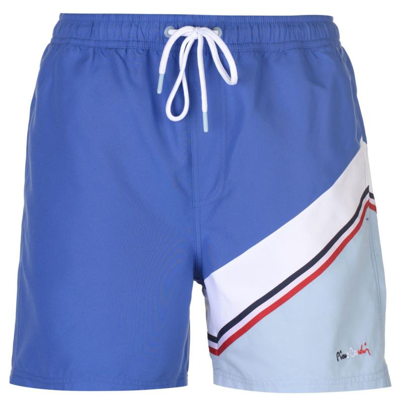 Plavky Pierre Cardin Diagonal Stripe Swim Shorts Mens Blue/White/Sky