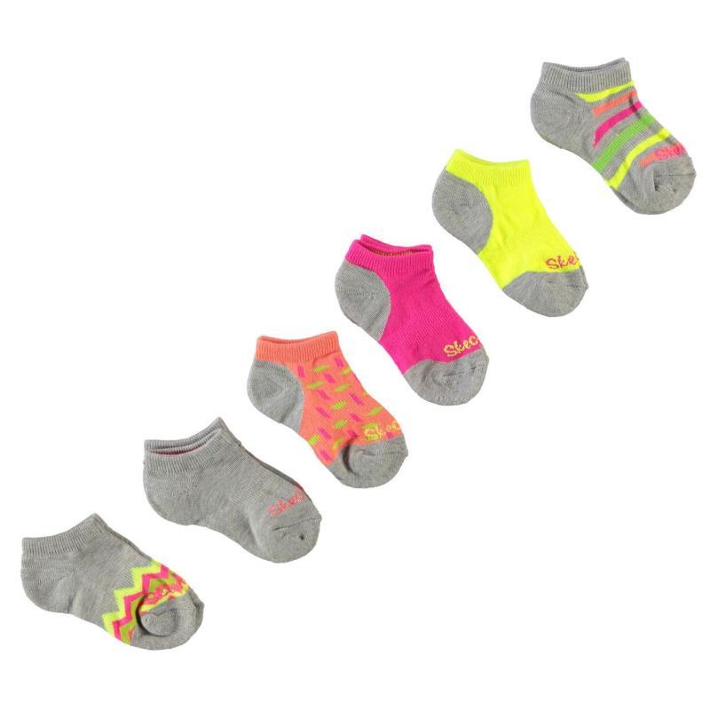 Skechers 6 Pack Socks Girls Light Multi