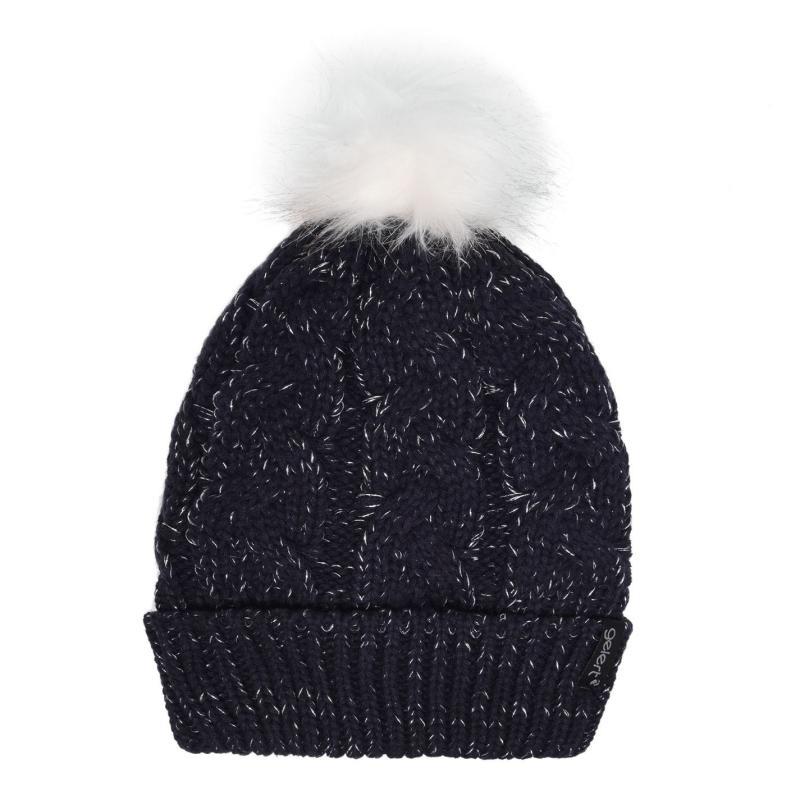 Gelert Twist Lurex Pompom Hat Ladies Blue