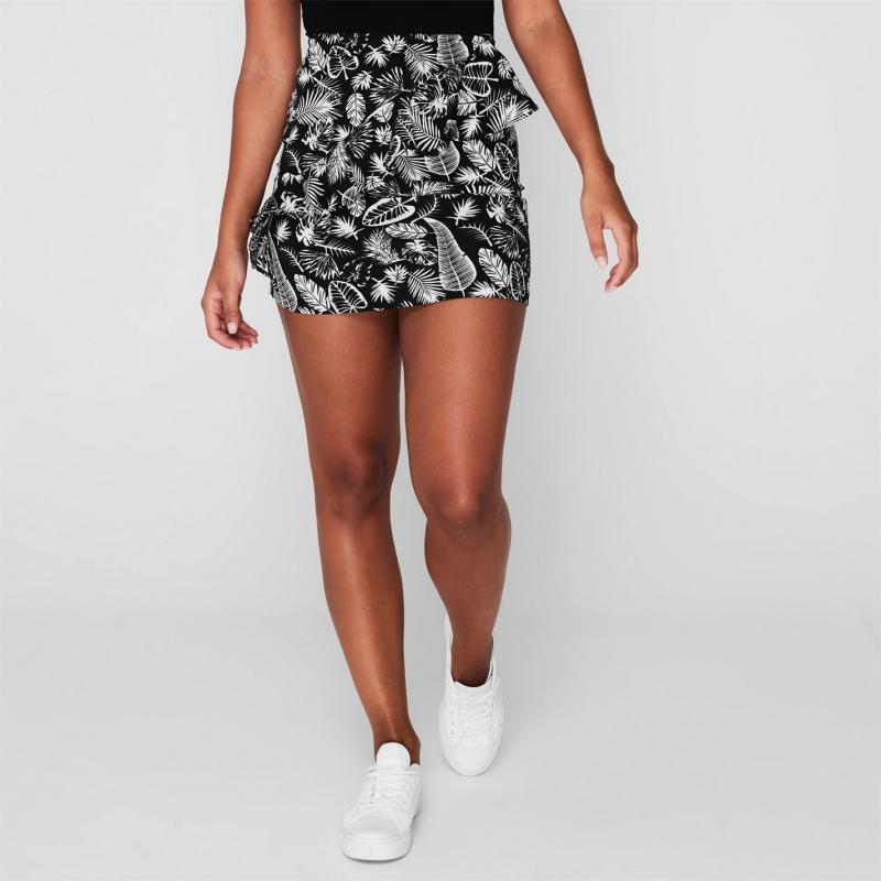 Sukně Golddigga Frill Skirt Ladies Black/White AOP