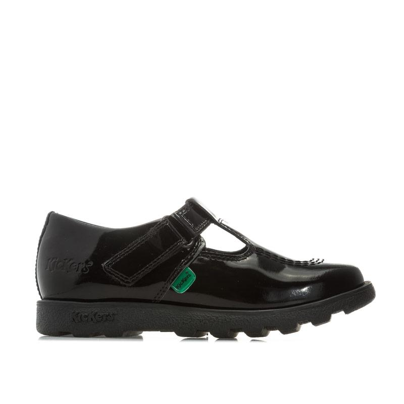 Kickers Infant Girls Fragma T-Bar Patent Shoes Black
