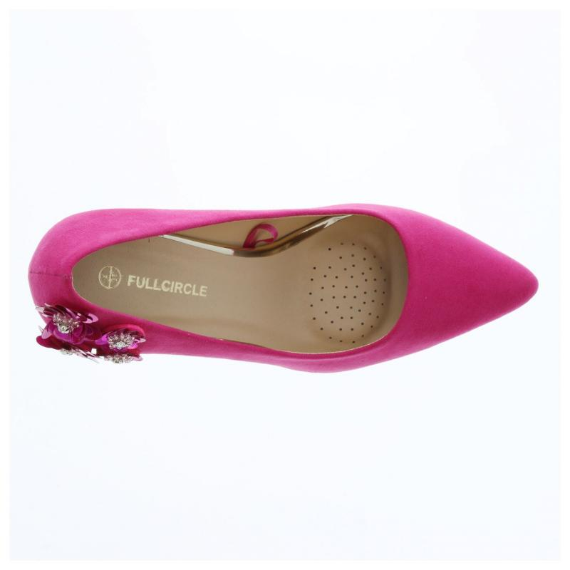 Crafted Ladies Flower Court Shoes Pink