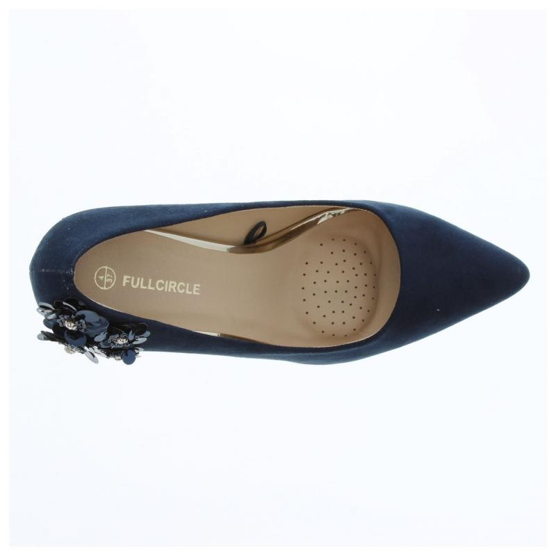 Crafted Ladies Flower Court Shoes Navy
