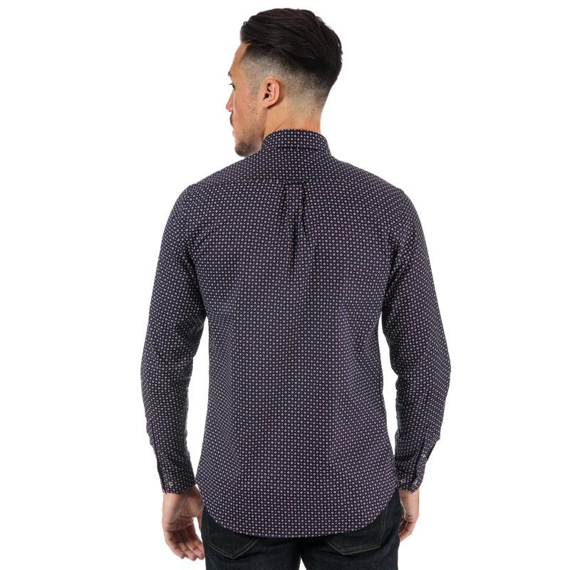 Gabicci Vintage Mens Harrow Pattern Shirt Navy